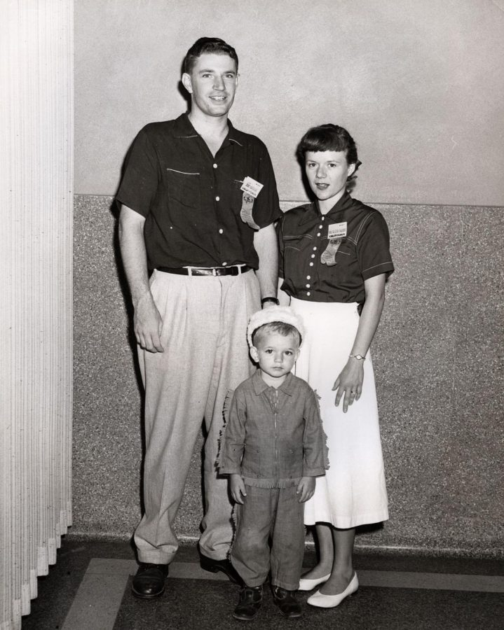"Luther League Conventions Photographs. Luther League - Texas A. & M., College Station, TX ""God's Love - My Life"" 1955 - The McBirney Family  Mike, Jack and Allegra McBirney - Allegra was the convention hymn-writer  ALC 51/3/2 f.9 ELCA Archives Image.  http://www.elca.org/archives"